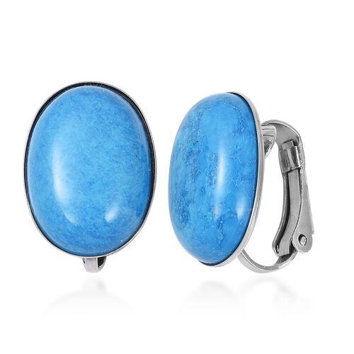 Magnesite (Ovl) Clip On Earrings in Stainless Steel