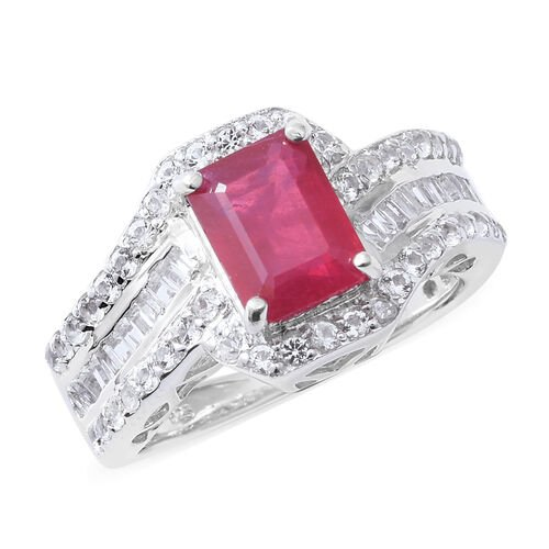 African Ruby (Oct 3.65 Ct), Natural White Cambodian Zircon Ring in Rhodium Overlay Sterling Silver 4.420 Ct, Silver wt 6.12 Gms.