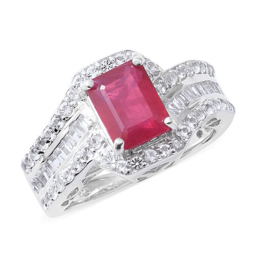 African Ruby (Oct 3.65 Ct), Natural White Cambodian Zircon Ring in Rhodium Overlay Sterling Silver 4