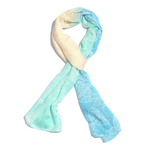 Turquoise Blue and Beige Colour Scarf (Size 170x65 Cm)