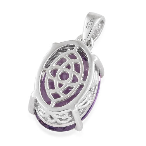 Canela Amethyst (Ovl 14x10 mm) Pendant in Platinum Overlay Sterling Silver 5.500 Ct