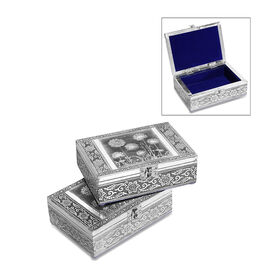 Set of 2 - Handmade Flower and Leaves Embossed Oxidized Storage Box (Size 17.7x12.7x5 Cm) with Blue