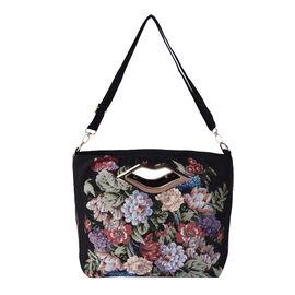 Floral Jacquard Pattern Crossbody Bag with Metallic Lip-Shaped Top Handles in Black