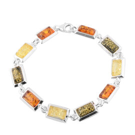 Multi Baltic Amber Tennis Bracelet in Sterling Silver 11 Grams 7 Inch