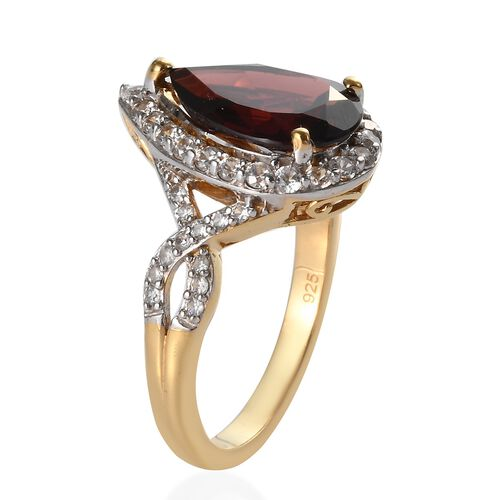 Mozambique Garnet (Pear 14x9 mm), Natural Cambodian Zircon Ring  in 14K Gold Overlay Sterling Silver 6.03 Ct.