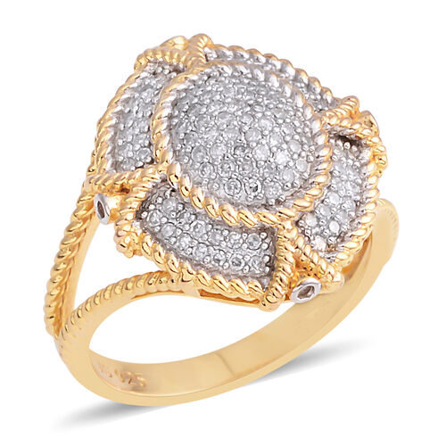 Diamond (Rnd) Ring in Rhodium and Yellow Gold Vermeil Sterling Silver 0.370 Ct. Number of Diamonds 103