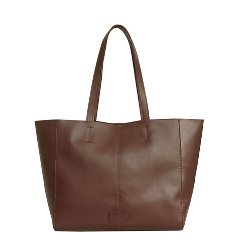 Assots London Abingdon Full Grain 100% Genuine Leather Tote Bag with Magnetic Closure (Size 32x12x28cm) - Tan