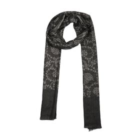 100% Cashmere Wool Seamless Floral Pattern Scarf (Size 70x200 Cm) - Black