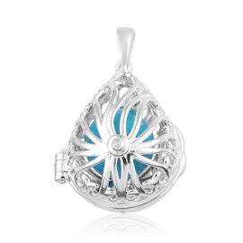 Blue Howlite Locket Pendant in Sterling Silver 6.250 Ct, Silver wt 4.23 Gms