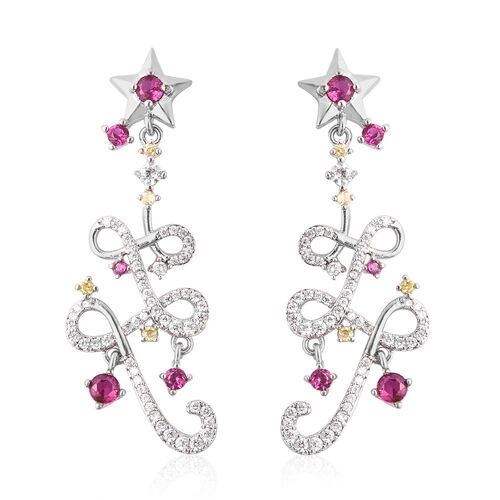 Simulated Multi Gemstone Star Dangle Earrings (with Push Back) in Silver Tone