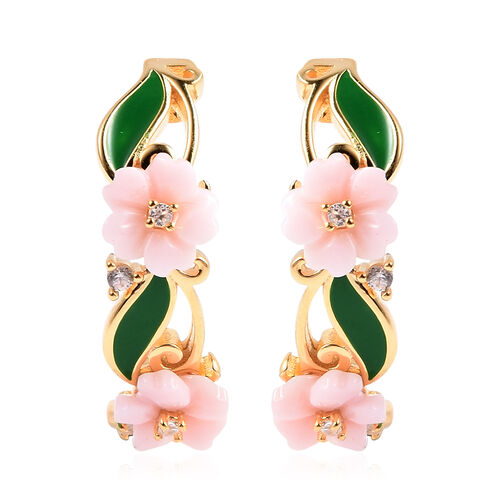 Jardin Collection - Pink Mother of Pearl and Natural Cambodian Zircon Floral Vine Enamelled Earrings
