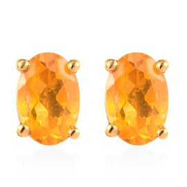 Customer Appreciation Day Jalisco Fire Opal (Ovl) Stud Earrings (with Push Back) in 14K Gold Overlay