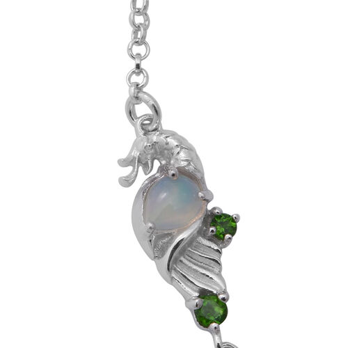 Ethiopian Welo Opal, Russian Diopside Necklace (Size 20) in Rhodium Overlay Sterling Silver 4.44 Ct, Silver wt 12.00 Gms