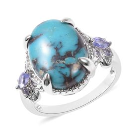 7.23 Ct Anahi Turquoise and Tanzanite Solitaire Design Ring in Rhodium Plated Silver