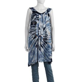 Tie-Dye Embroidered V Neck Dress - One Size Fits All: Length: 90cm - Navy Blue