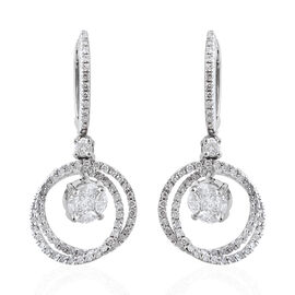 Close Out Deal- 14K White Gold Diamond (Mrq and Rnd) (I1-I2 /G-H) Earrings (with Clasp Lock) 1.403 C