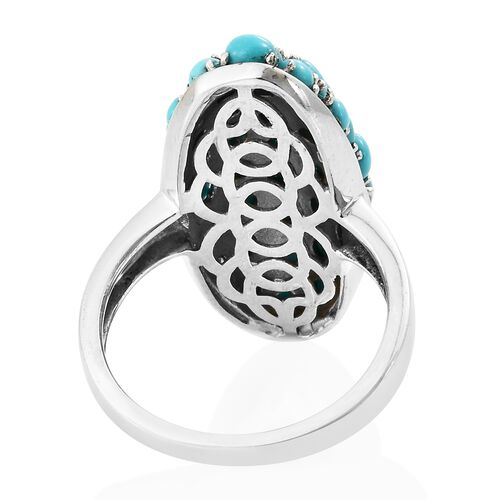 Arizona Sleeping Beauty Turquoise (Rnd) Cluster Ring in Platinum Overlay Sterling Silver 4.000 Ct. Silver wt 5.55 Gms.