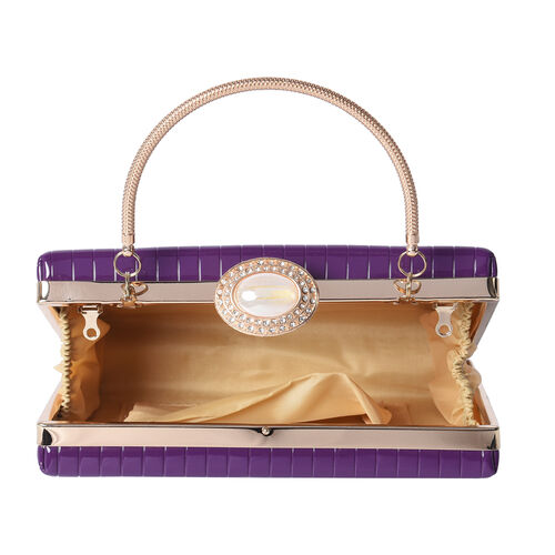 BOUTIQUE COLLECTION Purple Colour Stripe Pattern Shoulder Bag with Chain Strap and Crystal Studded Top Knob (Size 18x5x13 Cm)