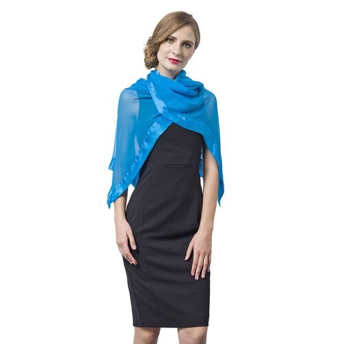 End Of Season Deal -100% Mulberry Silk Scuba Blue Colour Scarf with Satin Border (Size 160X60 Cm)