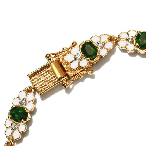 AA Russian Diopside and Natural Cambodian Zircon Enamelled Bracelet (Size 7) in 14K Gold Overlay Sterling Silver 4.75 Ct, Silver wt 16.06 Gms