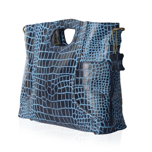 Genuine Leather RFID Blocker Blue Colour Croc Embossed Convertible Tote or Sling Bag (Size 45X32X8 Cm)