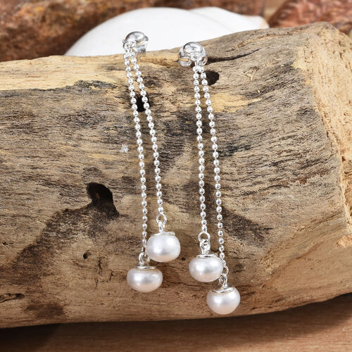 Freshwater Pearl Dangle Earrings (with Push Back) in Sterling Silver