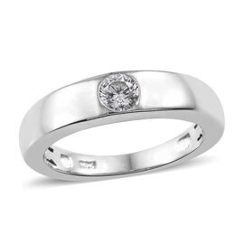Limited Edition- J Francis Platinum Overlay Sterling Silver (Rnd) Flush Setting Ring Made with SWAROVSKI ZIRCONIA