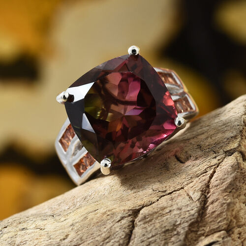 Finch Quartz (Cush 14x14 mm), Orange Sapphire Ring in Platinum Overlay Sterling Silver 13.500 Ct, Silver wt 6.60 Gms.