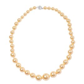 Golden Shell Pearl (Rnd 8-16 mm) Graduated Necklace (Size 20) with Magnetic Clasp in Silver Plated