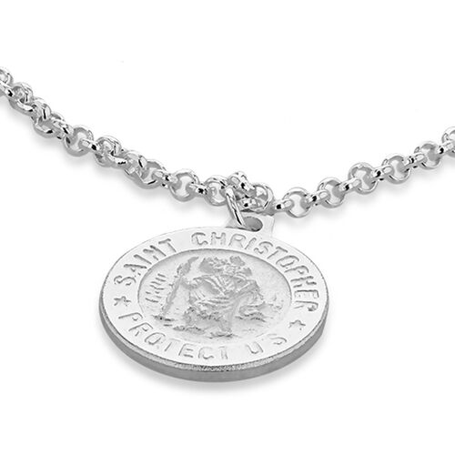 St Christopher Disc Charm Child Bracelet in Sterling Silver Size 5.5 Inch with Extender