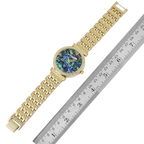 STRADA Japanese Movement Abalone Shell Dial with White Austrian Crystal Watch in Yellow Gold Tone with Stainless Steel Back