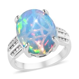 RHAPSODY 6.25 Ct AAAA Ethiopian Welo Opal and Diamond Solitaire Design Ring in 950 Platinum 7 Grams