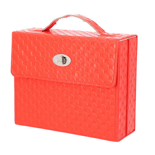 Embossed Quilted Pattern Handbag Style Anti-Tarnish Jewellery Organizer with Inside Mirror and Oval Twist Lock (Size- 22X7.5X18 cm) - Red