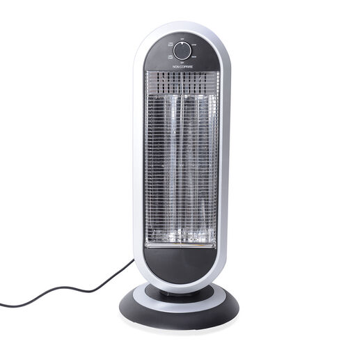 Home Decor - Black and White Colour Electronic Fan Heater with Wide - Angle Radiant Electric Heat Re