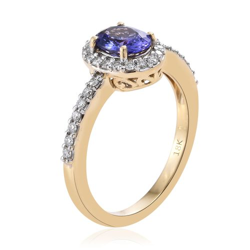 ILIANA 18K Yellow Gold AAA Tanzanite (Ovl), Diamond (SI/G-H) Ring 1.150 Ct.