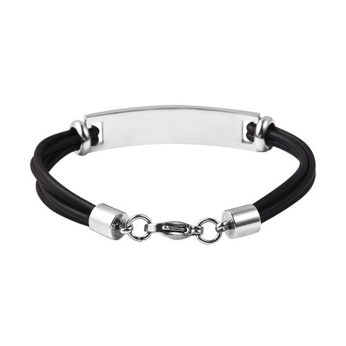 Personalise Engraved Genuine Leather ID Bracelet for Men - Size 7.5Inch