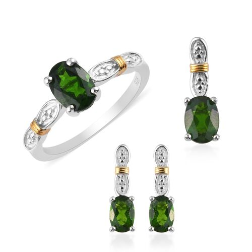 Set of 3 - Russian Diopside Ring, Earrings and Pendant in Platinum and Yellow Gold Overlay Sterling