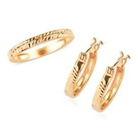 2 Piece Set - 14K Gold Overlay Sterling Silver Band Ring and Hoop Earrings (with Clasp), Silver wt 4