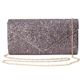 Sequin Clutch Bag with Magnetic Flap Closure and Shoulder Chain Strap (Size 23.5x12x5.5 Cm) - Purple