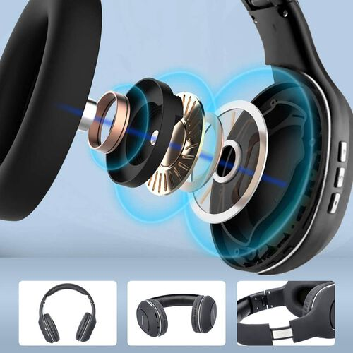 WESDAR: Wireless & Bluetooth Headphones with Rechargeable 500 mAh Battery - Black