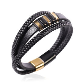 MP Triple Strand Leather Bracelet (Size 7.5) with Black and Gold Tone Stainless Steel