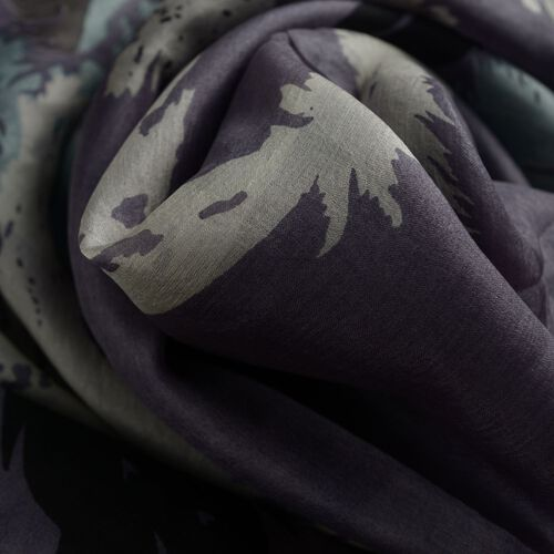 100% Mulberry Silk Multi Colour Leaf and Feather Pattern Dark Grey Colour Scarf (Size 180x100 Cm)