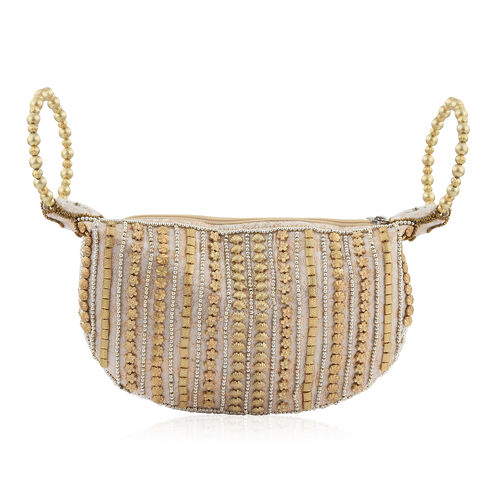 Hollywood Hand Embellished Rose Gold Satin zipped Potli Bag