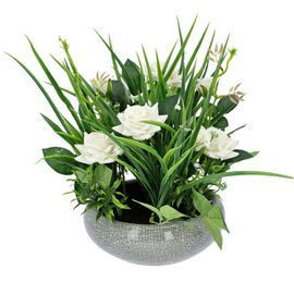Mini Flannelette Roses in Ceramic Vase - White
