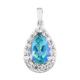 3.80 Ct Peacock Quartz and Zircon Halo Pendant in Platinum Plated Silver