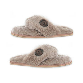 Ella Rebecca Supersoft Toe Post Slipper in Mink Colour