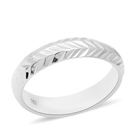 Embossed Leaf Vine Band Ring in Sterling Silver 4.18 Grams