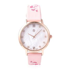 STRADA Japanese Movement White Austrian Crystal (Rnd) Water Resistance Watch with Floral Embroidery