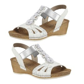 Lotus Padova Wedge Sandals in White Colour