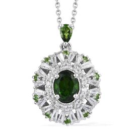 Russian Diopside (Ovl 8x6 mm), White Topaz Pendant with Chain (Size 18) in Platinum Overlay Sterling